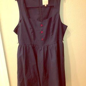 Navy Mod Cloth Sweetheart Neck Dress